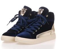 Platform high-top shoes female flat spring and autumn fashion skull skateboarding shoes gold velvet platform women's shoes