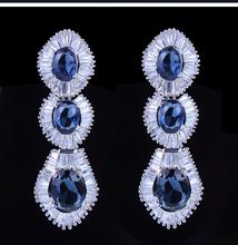 Deluxe Women Tear Shape Long drop Earrings White Color Zirconia Stone Nickel Free Plated Classic Romantic