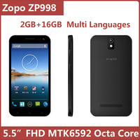 Original ZOPO ZP998 5.5 Inch FHD IPS MTK6592 Octa Core Android 4.2 Smart Mobile Cell Phone 2GB 16GB  BT GPS Russian Support