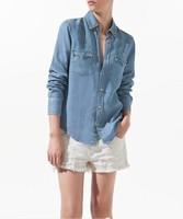 women's 2014 rivet shirt long-sleeve cotton  denim shirt free shipping