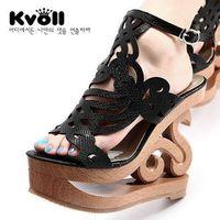 2014 Sandalias femininas Kvoll allotypy PU cutout vintage carved ultra high-heeled platform high heels sandals women's shoes