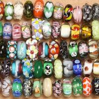 20pcs Mix Color Colour Pattern 14x10mm Big Hole Murano Lampwork Glass European Beads SP Core fit DIY Charm Jewelry Bracelet