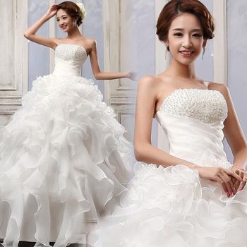 2015 мода женщин платье сладкий кружева прекрасный высококачественный сексуальная принцесса платье жемчуг украшения невесты свадебное платье