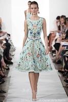 2015 runway elegant floral print women's quality sleeveless tank dress free shipping