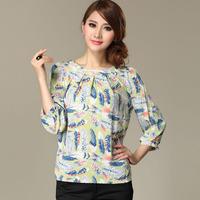 New 2014 summer women blouses shirt chiffon plus size flower print women's vintage casual shirt blusas ladies blouses