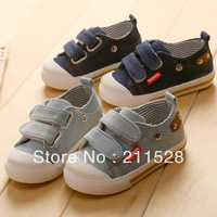 2014 New design fashion baby boy girl Velcro canvas board shoes sneakers hot sale babys footwear dark/sky blue 5pairs 585042