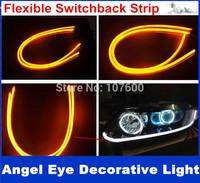 2x 60cm White+Amber Flexible Headlight Daytime Lamp Switchback Strip Tube Style Angel Eye DRL Decorative Light With Turn Signal