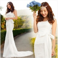 Free Shipping Mermaid Court Train Sweetheart Cap Sleeve  V-neckline white Organza Lace  Sexy  Wedding Dresses 2014