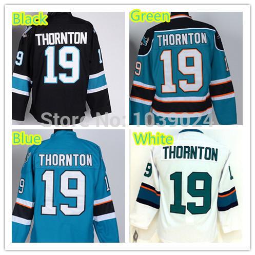 product Black Joe Thornton Jersey Teal Blue Home San Jose Sharks 19 Joe Thornton Green Jersey Newest Style Ice 100% Polyester