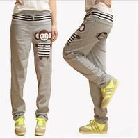 2014 women  thick monkey animal cartoon button pocket strip color block cotton harem pants sweatpants sports palysuit plus size