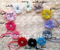 Ballerina Chiffon Flower headband with Clear full Rhinestone Buttons baby headband 40pcs/lot