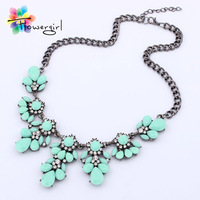 Ttrendy Jewelry 2014 Fashionable Charming Gun Black Color Alloy Chain Colorful Resin With Rhinestones Choker Necklace [WF9626]