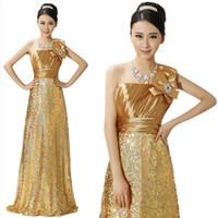 on sale golden wedding toast dress single oblique shoulder sequined lace evening dress