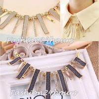 New High Quality Retro Women's Jewelry Gothic Geometric Scrub Rhinestone Women's Ladies Necklace