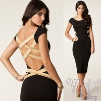 2014 New European Fashion Women Sexy Knee Length Evening Party Dress Black Bandage Backless Celebrity Dress Plus Size M L 20105
