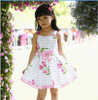 New Arrival 2013 Summer Branded Big Flower Pattern Cotton Girl's Dress,Girls Summer Korean dress Clothes Free Shipping