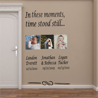 Personalized Names and Dates IN THESE MOMENTS TIME STOOD STILL Quote Decals Words Lettering Vinyl Wall Stickers Size 100*180cm