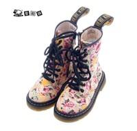 Hebe female child children shoes fashion multicolour flower canvas martin boots snow boots female boots child