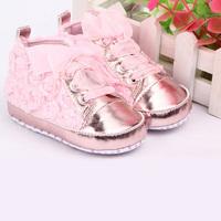 Baby Girls Shoes Soft Soled Walking Shoes Infants Rose Flower Prewalker 0-12 M