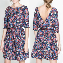 2014 Spring New Fashion Style Printing Flower Dress Long Sleeve Slim Fit Dress Women!Free Shipping!(China (Mainland))
