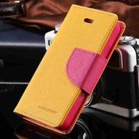 New Chic Mercury Series Color Button Case For iphone 4 4S 4G PU Leather Wallet Stand Function Card Holster Cover Luxury RCD03747
