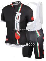 2014 Short Sleeve cycling jersey & cycling bib shorts sets Team cycling 2014 ropa ciclismo cycling clothing bike jerseys black