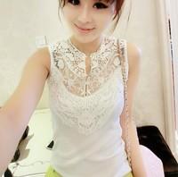 2014 Women's Sleeveless Spaghetti Strap Basic Shirt Female Vest Cool Slim White Chiffon Lace Cutout Vest Shirt Wihte Grey Yellow