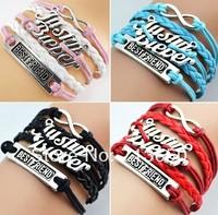 24pcs Antique Charm JUSTIN BIEBER best friend infinity Braided Leather Bracelets 4 Colors Mix Wristbands Wholesale Jewelry Lots