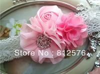 Baby Lace headband Ballerina Chiffon Flower Combination with fashion Shiny Hollow Rhinestone headband 16pcs/lot