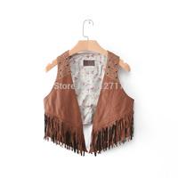 New fashion 2014 all-match givlie elegant unassisted vest rivet tassel high quality PU leather vest PU jacket free shipping