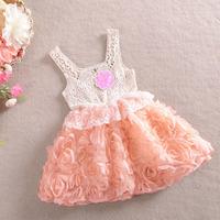 2014 new arrived children's  girls summer roses princess chiffon vest dresses,fashion lace lovely fress girl