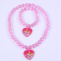 Children jewelry sets Minnie /Dora / Princess /Fairy Design Crystal charm necklace bracelet Set  Kids Baby Party favors