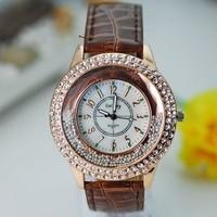 Wholesale women wristwatches ladies rhinestone  fashion leather strap quartz watch Women watches  FS139