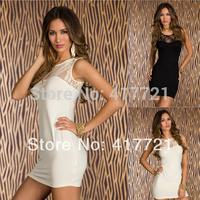 ML17926 Cheap Drop Shipping White Sleeveless Lace Summer Dresses Elegant Short  Girls Dress