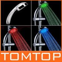 RGB LED Shower Head Handheld Sprinkler Temperature Sensor 3 Color