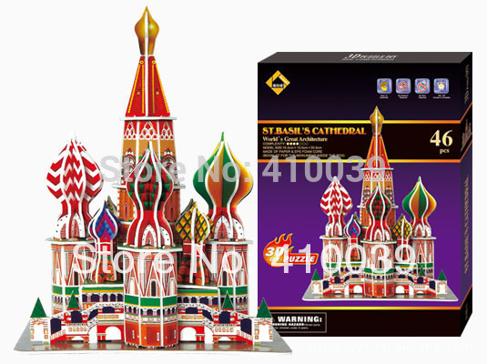 Cubic fun 3d puzzle paper model handmade jigsaw puzzles classic architecture kids learning&educational toys for children&adults(China (Mainland))