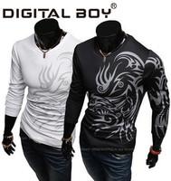 2014 New Brand Hot Fashion Men's T shirt /tshirt ,Sport Casual Sim Long SLeeves o-neck Autumn/Winter t-shirt men Drop shipping