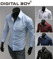 2014 Autumn and Spring Men's T shirt,New brand Famous Casual cotton long Sleeve Tshirt/T-Shirt Black 5 colors Drop shipping
