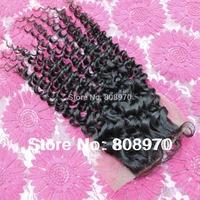 4*4 Lace top Closure virgin brazilian hair curly free part centre part 3way part natural black bleached knots 10 12 14 16 18inch