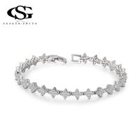 8.19 Big Sales G&S Swiss CZ Platinum Plated Luxury Star Bracelet Bangle Statement Fashion Jewelry For Women Party Wedding