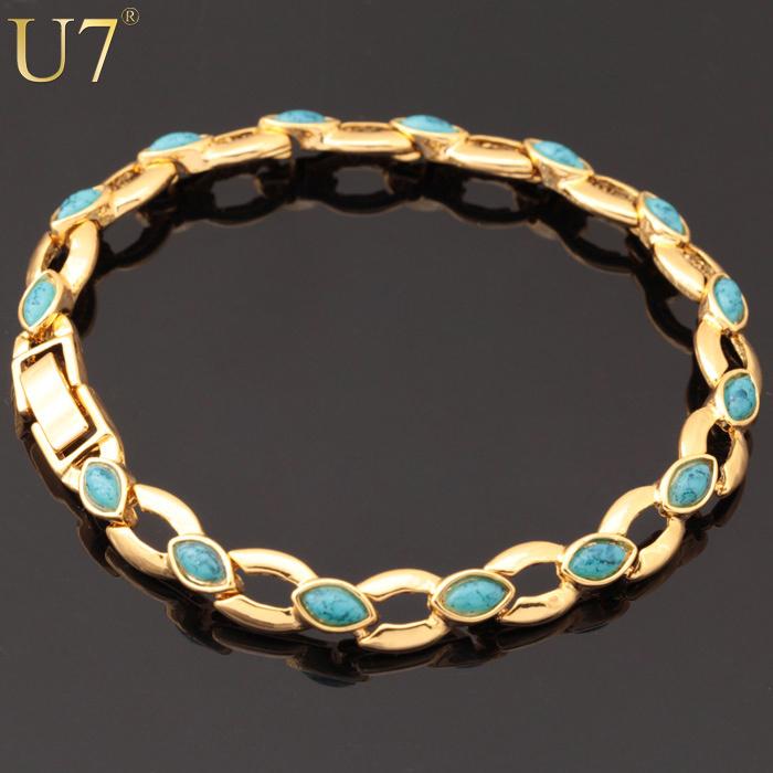 Браслет-цепь U7 18K & H390 часов реального золота platinum покрыты браслет круто рок стиль новой 19 см толщиной 12 мм цепь браслет мужчин украшения оптовой u7