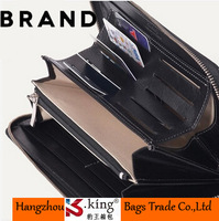 2014 Men's Famous Brand Zipper Long Design Genuine Leather Wallet , High Quality Leather Purse For Men , Drop Shopping