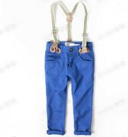 2014 factory outlet  2-6y children set casual boy/girl suspender pants autumn  Euro brand quality baby boy pants kids pants boys