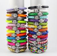 2014 NEW Leather Wrap Wristband Cuff Punk Magnetic Rhinestone Buckle Bracelet Bangle Free Shipping