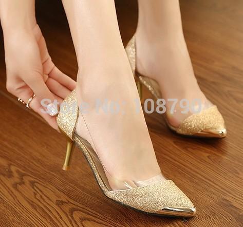 2014 Summer Sexy Gold Mid Heel Pointed Toe Red Bottoms High Heels Women Pumps Glitter Wedding
