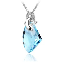 wholesale white gold plated colorful austrian crystal dolphine necklace pendant fashion jewelry 1234