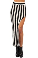 2014 New Arrival Fashion Womens Long Skirts Black White Irregular Stripes Maxi Skirt Free Size #005 20139*