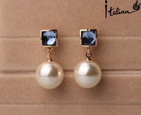 Italina Rigant Elegant Simulated Pearl Dangle Earrings With Austrian Crystal Stellux Gift For Girlfriend OL Jewelry #RG85297