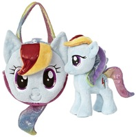 Free Shipping 2pcs my little pony plush toys Rainbow Dash Tail Carrier bag with plush pony toys dolls for children girls