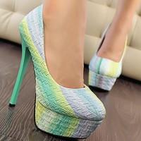 Gradient Mint Green Women Summer Sexy Ultra High Heel Pumps Shoes Femme Thin Heel Evening Dress Shoes Stiletto Platforms Sandal